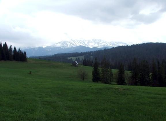 Landskab i podhale med udsigt mod tatry bjergene